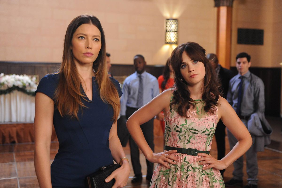Jessica Biel (left) stars in the season premiere of New Girl. Zooey Deschanel is also there, as always.