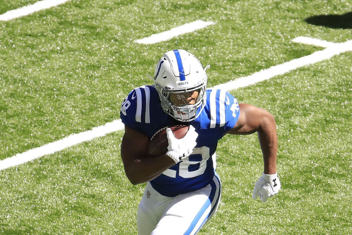 Jonathan Taylor of the Indianapolis Colts runs with the ball against the Minnesota Vikings at Lucas Oil Stadium on September 20, 2020 in Indianapolis, Indiana.