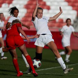American Fork and Fremont compete in a 6A girls soccer semifinal game at Rio Tinto Stadium in Sandy on Tuesday, Oct. 20, 2020.