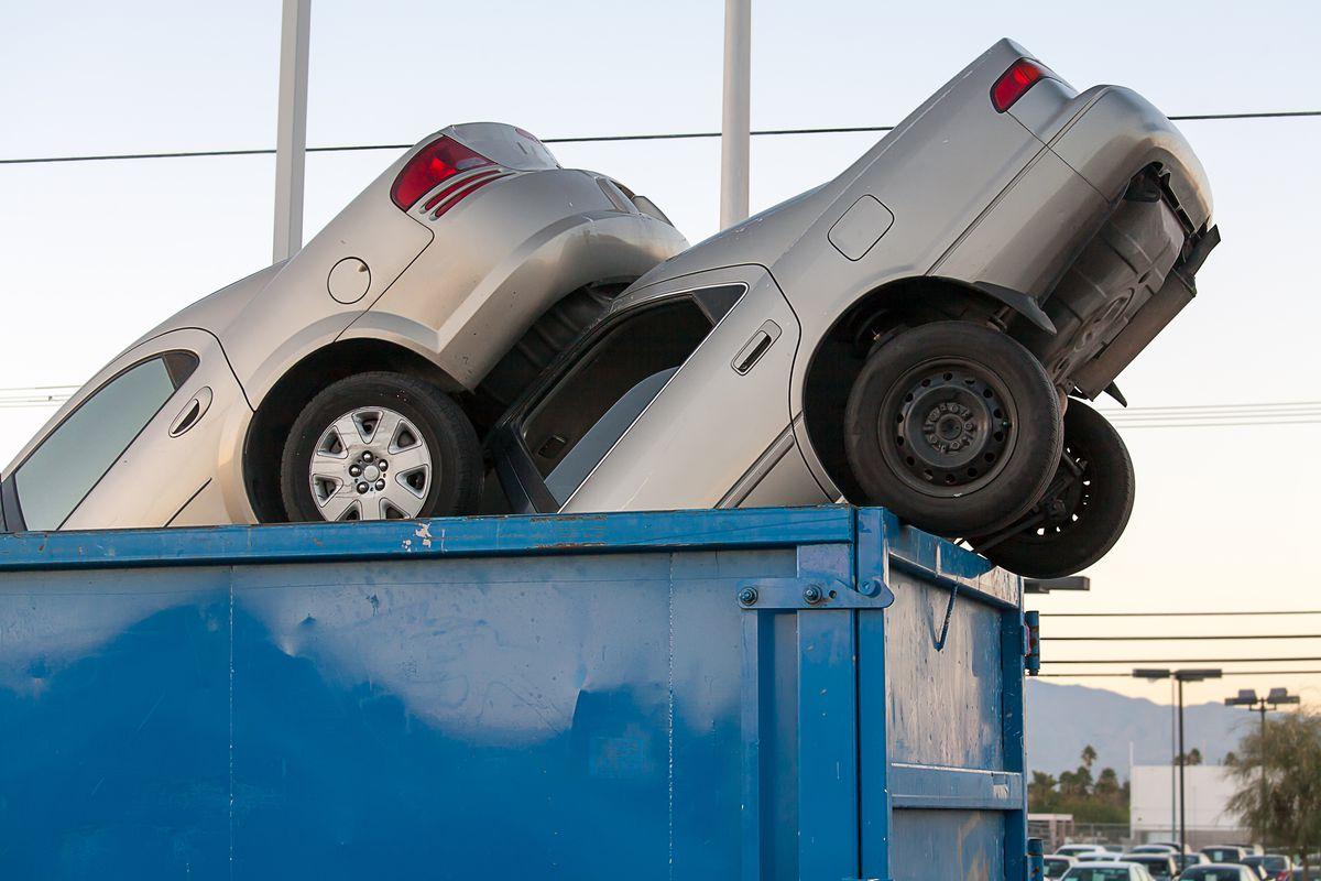 cars in trash