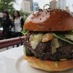 """The Frenchie Burger at Bar Boulud by <a href=""""https://www.flickr.com/photos/scottlynchnyc/14588566755/in/pool-eater/"""">Scoboco"""