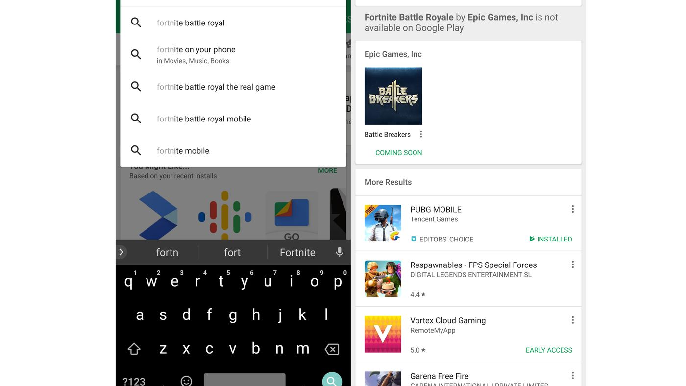 Google Play warns users it doesn't carry Fortnite Battle