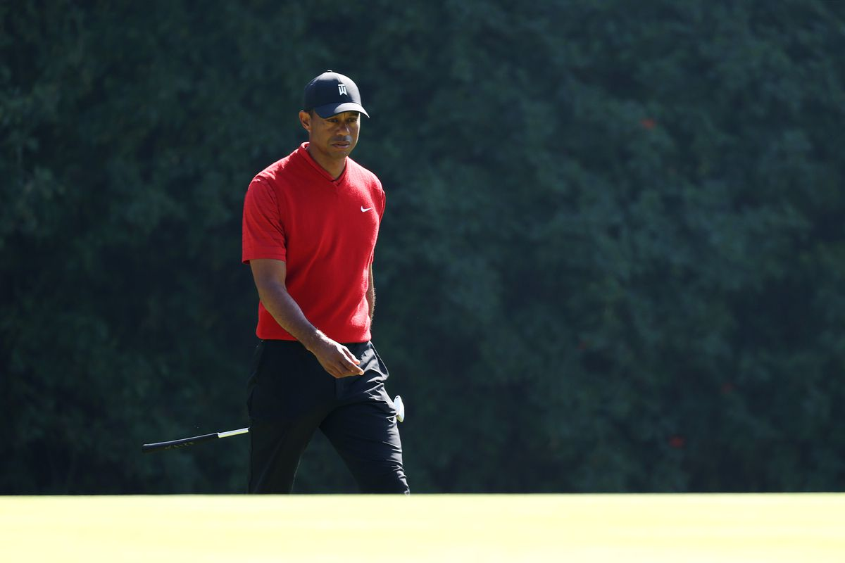 Tiger Woods of the United States walks on the 12th green during the final round of the Genesis Invitational on February 16, 2020 in Pacific Palisades, California.