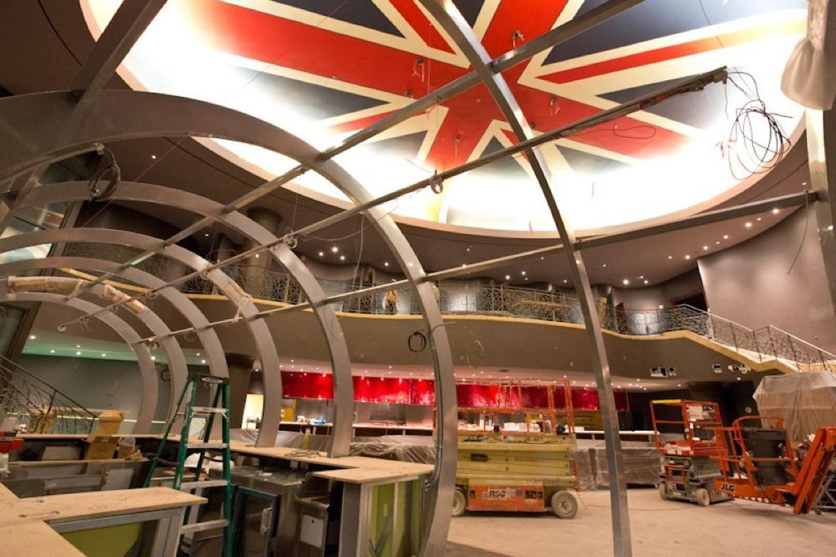 While Gordon Ramsay Steak at Paris Las Vegas is still under construction, touches such as the skeleton of the Chunnel in the foreground and the Union Jack overhead are in place.