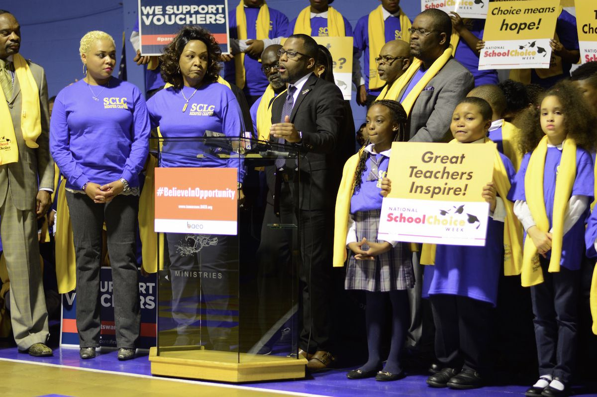 Mendell Grinter speaks at a 2016 school choice rally in Memphis that his group organized.