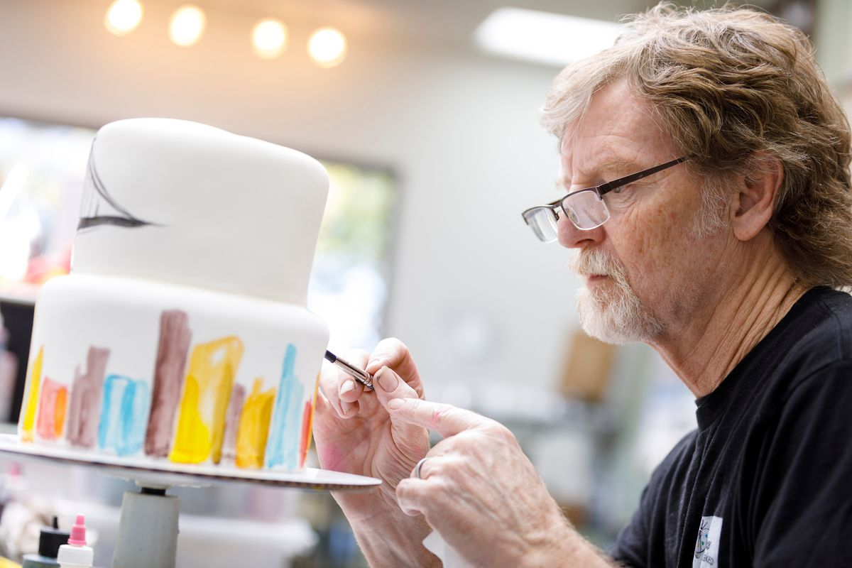 Jack Phillips, owner of Masterpiece Cakeshop in Lakewood, CO decorates a cake for a client on Sept. 21, 2017. Phillips refused to bake a cake for a same-sex couple in 2012 and is now taking his case to the Supreme Court following the Colorado Civil Rights