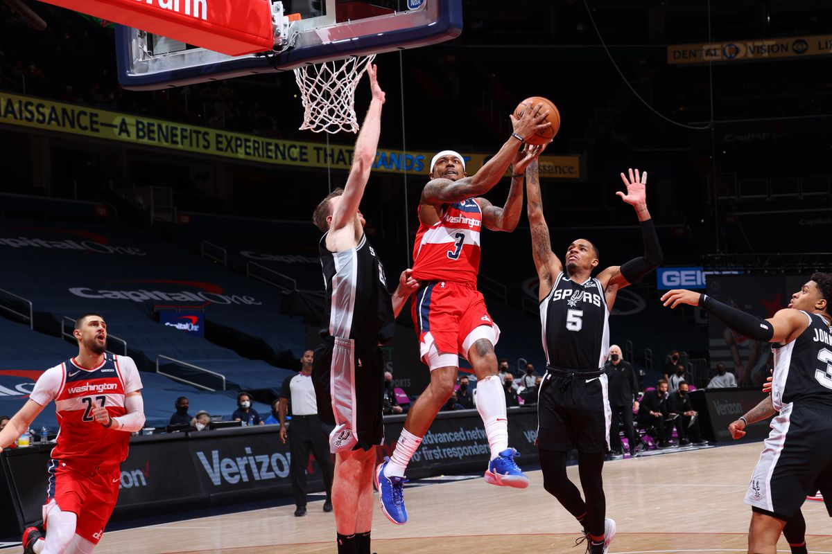 Bradley Beal of the Washington Wizards shoots the ball against the San Antonio Spurs on April 26, 2021, 2021 at Capital One Arena in Washington, DC.