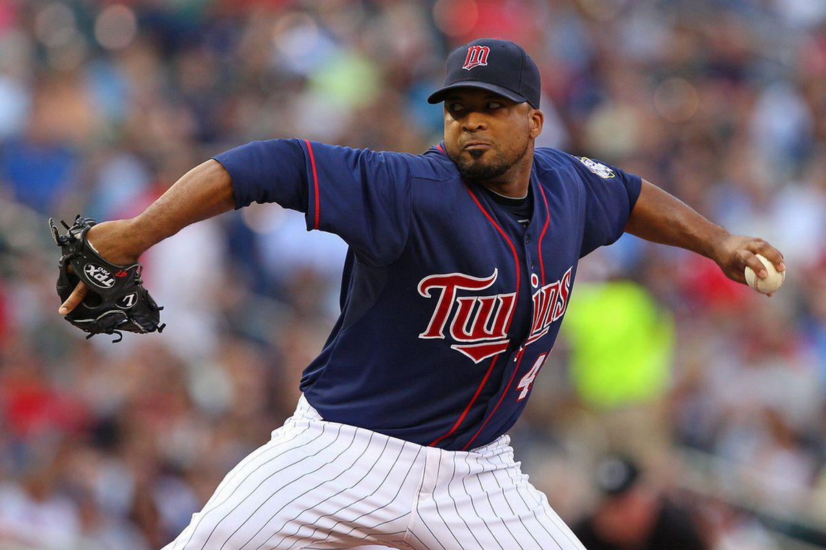 June 25, 2012; Minneapolis, MN, USA: Minnesota Twins starting pitcher Francisco Liriano (47) delivers a pitch in the first inning against the Chicago White Sox at Target Field. Mandatory Credit: Jesse Johnson-US PRESSWIRE