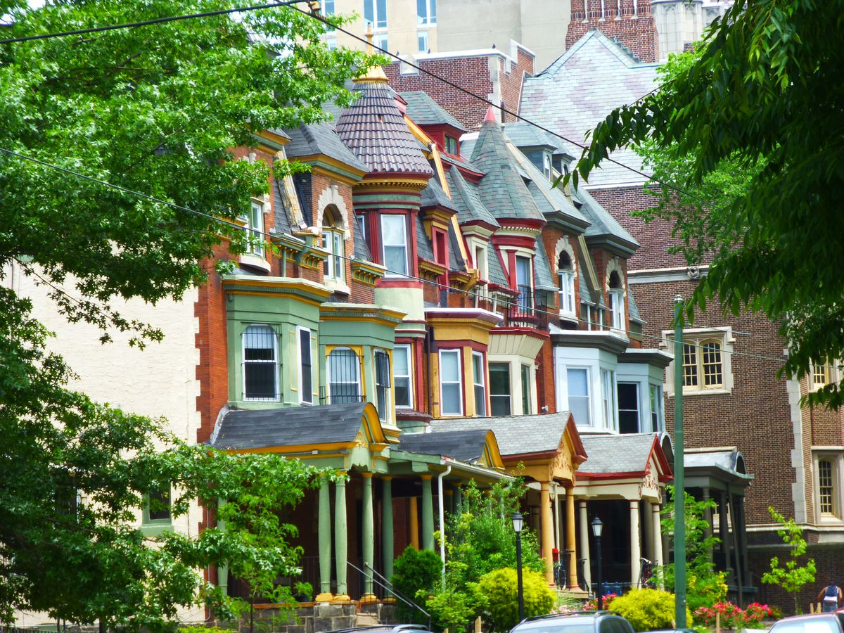 Photo of rowhouses in Spruce Hill, West Philly