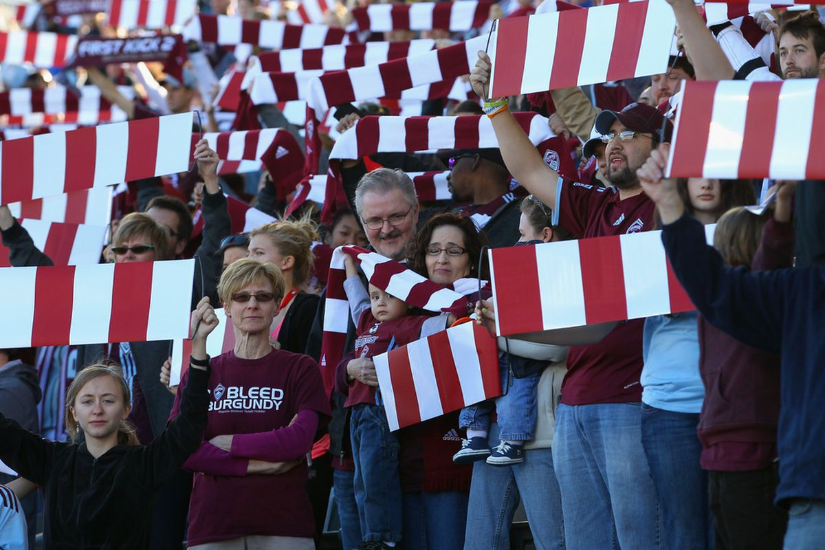 COMMERCE CITY, CO - MARCH 10:  Fans salute the Colorado Rapids as they take the field to face the Columbus Crew at Dick's Sporting Goods Park on March 10, 2012 in Commerce City, Colorado.  (Photo by Doug Pensinger/Getty Images)