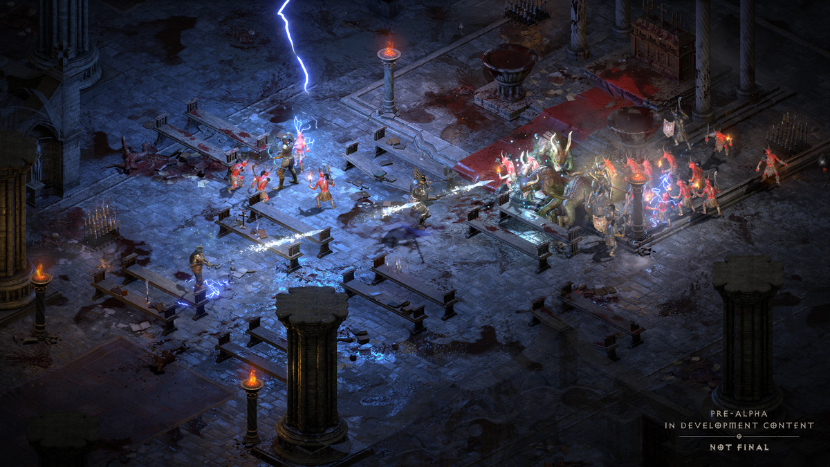 Diablo 4 players battle through a Cathedral