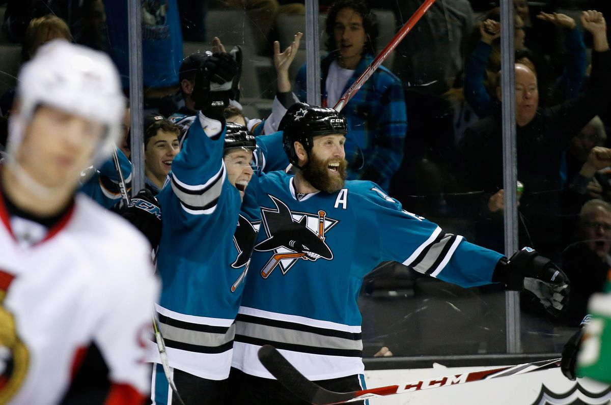 Tomas Hertl #48 of the San Jose Sharks is congratulated by Joe Thornton #19 after he scored in the second period of their game against the Ottawa Senators at SAP Center on January 18, 2016 in San Jose, California.