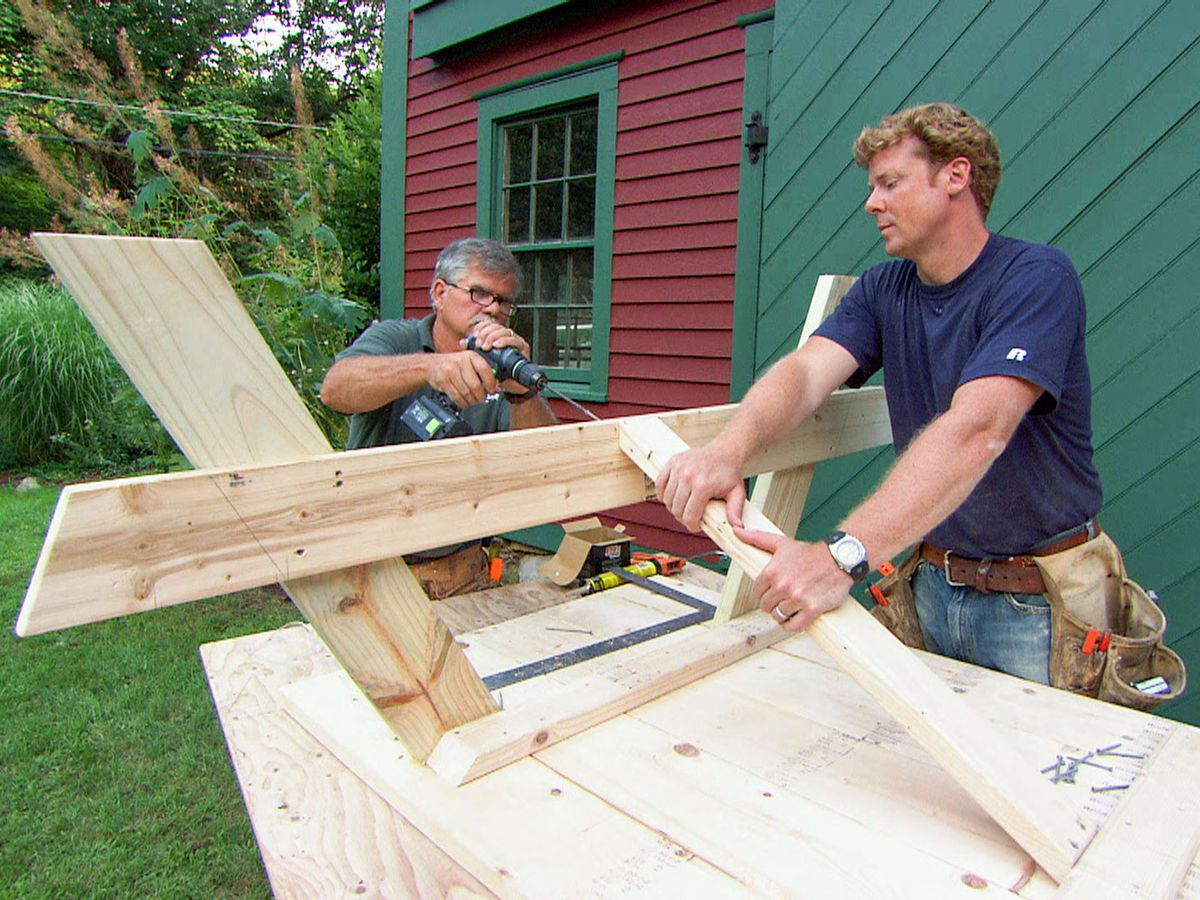 Tom and Kevin woodworking