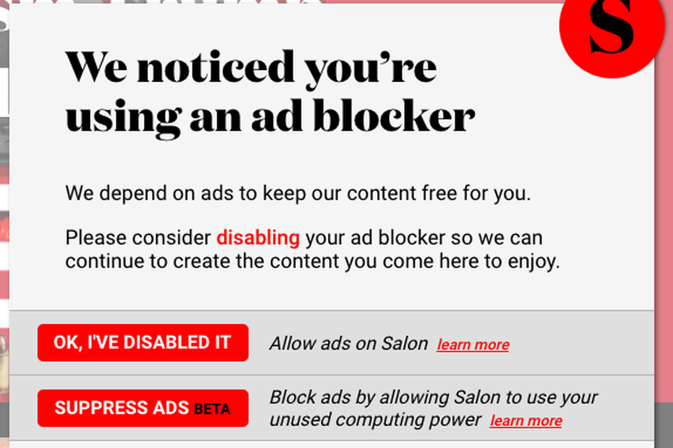 salon asks ad blocking users to opt into cryptocurrency mining instead