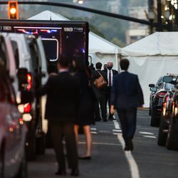 Vice President Mike Pence and Second Lady Karen Pence arrives at Hotel Monaco ahead for Wednesday's Vice Presidential Debate in Salt Lake City on Monday, Oct. 5, 2020.
