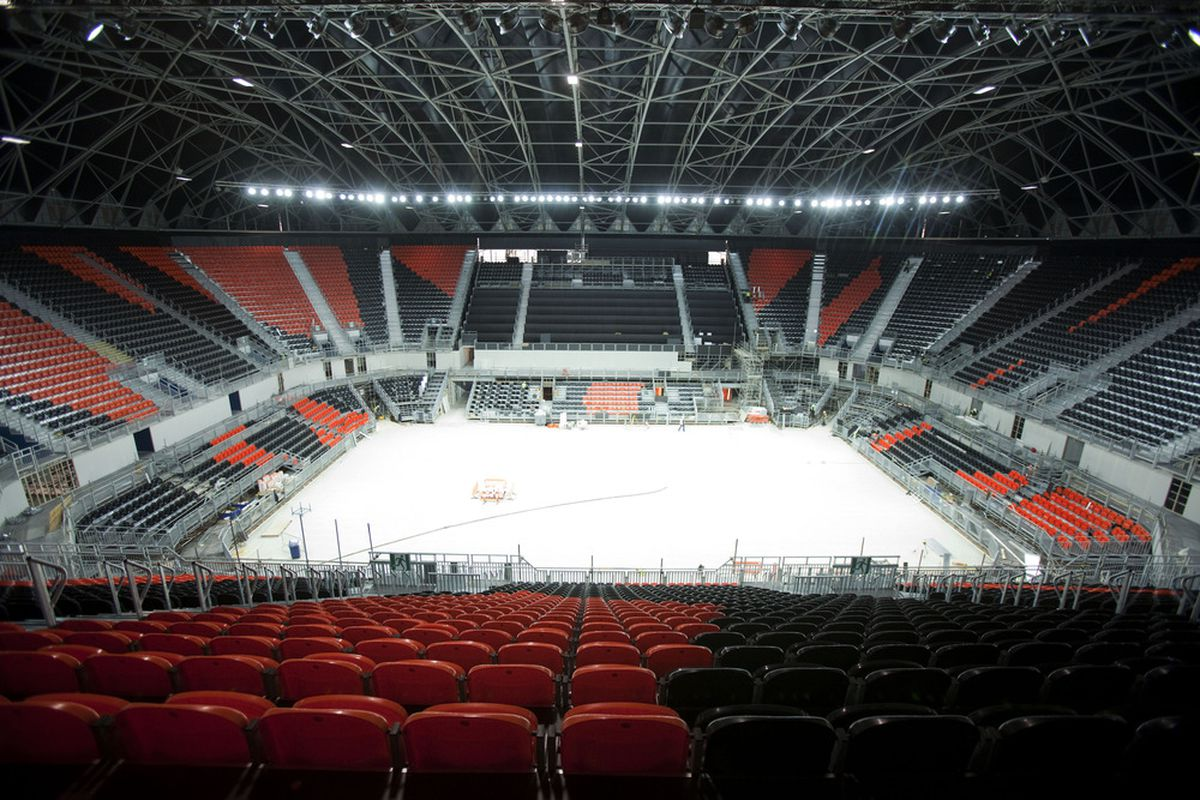 This empty arena is actually of the place the London Olympics will use. This has nothing to do with Metro State.