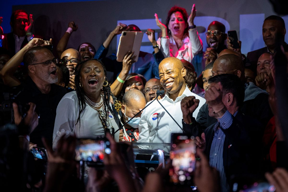 Eric Adams speaks at his election night party in Williamsburg as he took the lead in the mayoral primary, June 22, 2021.