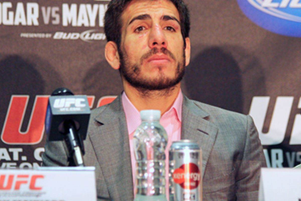 UFC featherweight Kenny Florian at the UFC 136 post-fight press conference following a loss to Jose Also. (Photo via MMA Junkie)