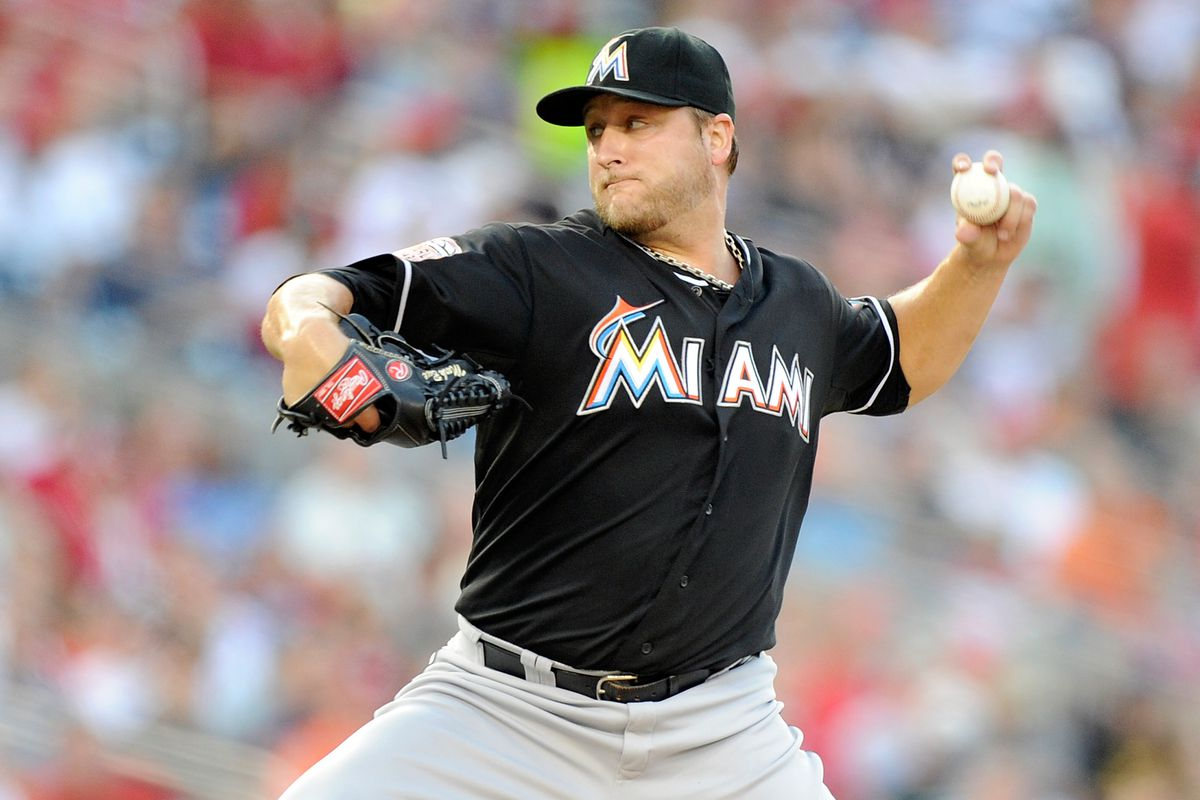 WASHINGTON, DC - AUGUST 04:  Mark Buehrle #56 of the Miami Marlins pitches against the Washington Nationals at Nationals Park on August 4, 2012 in Washington, DC.  (Photo by Greg Fiume/Getty Images)