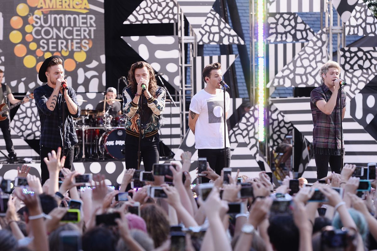 Blame these guys, the band 'One Direction,' for Giants practice being closed to the public on Wednesday.