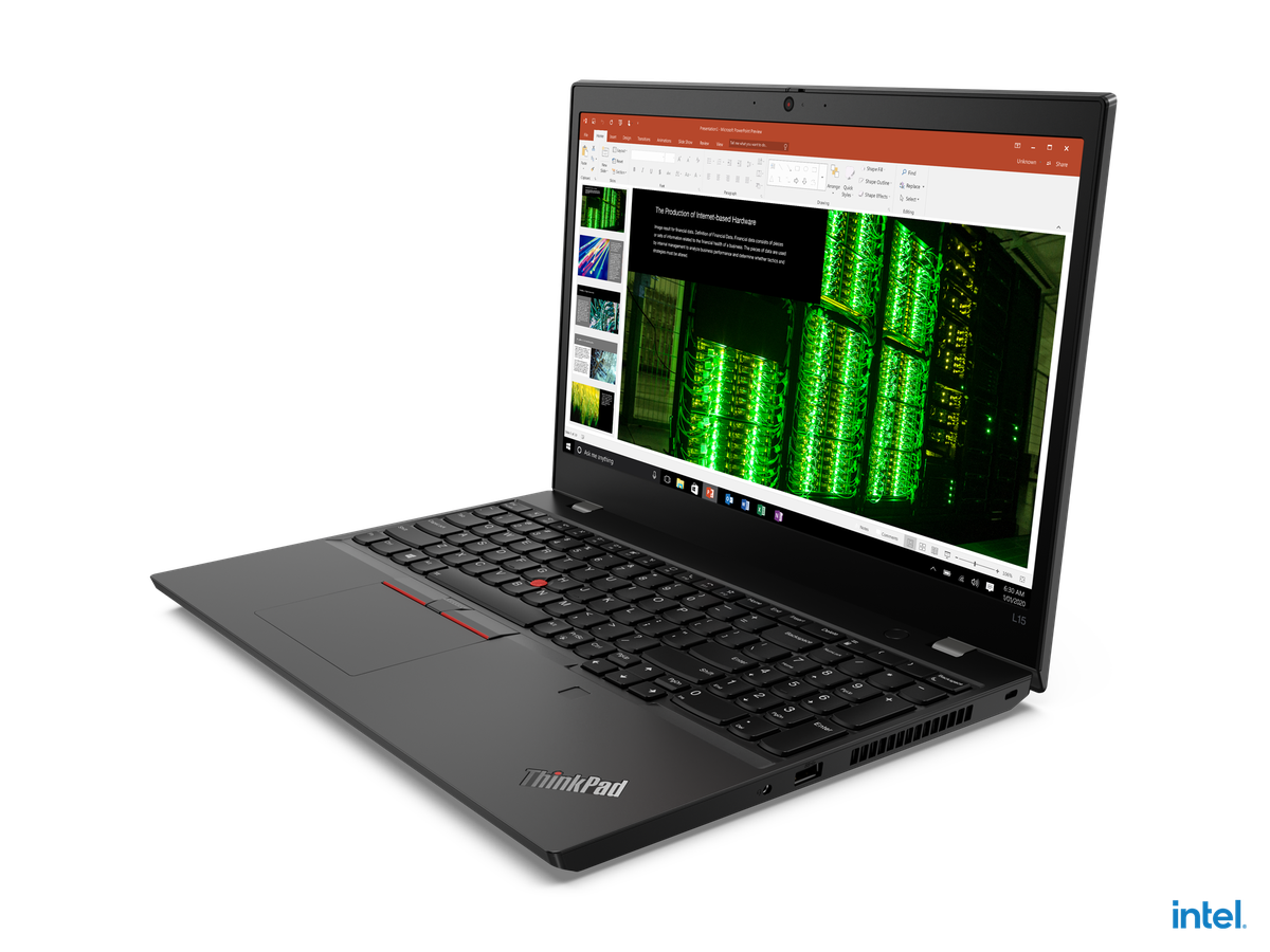 Lenovo ThinkPad L15 Gen 2 open, angled to the left.  The screen displays a PowerPoint presentation.