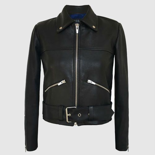 Black leather jacket with two side zip detailing and bottom closure belt.
