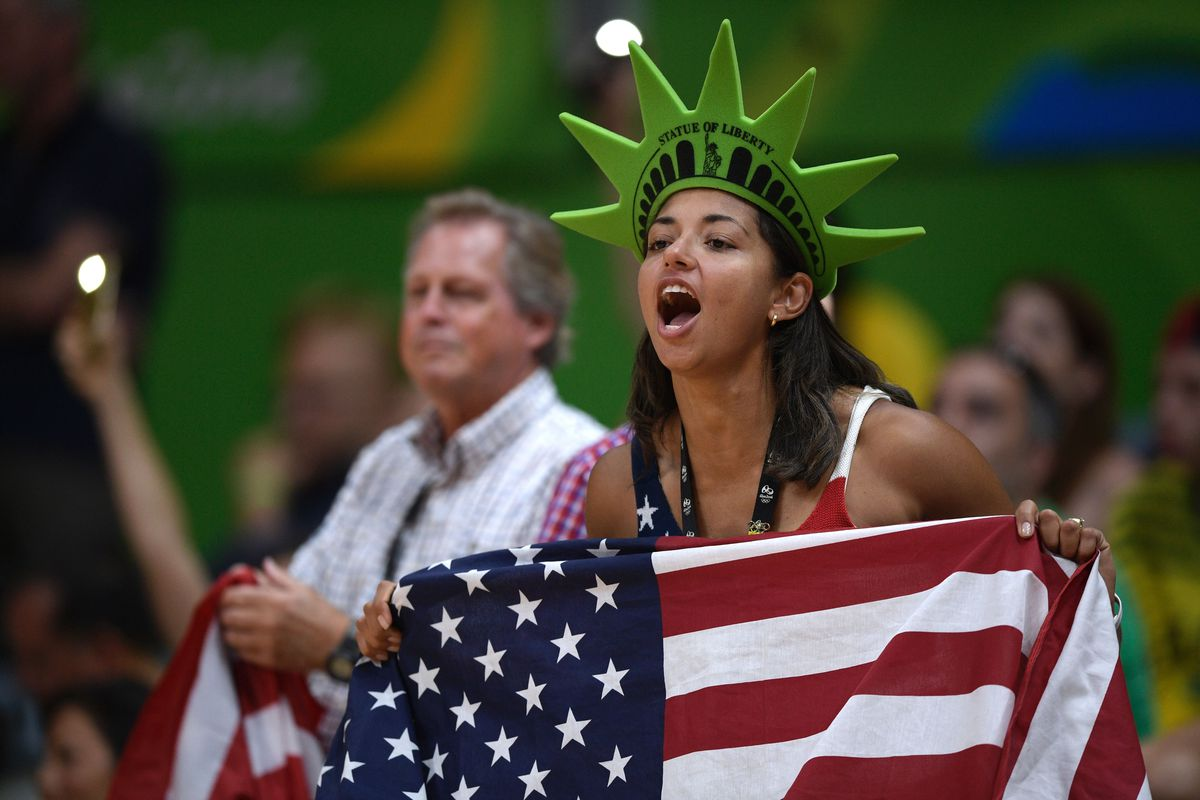A USA fan cheers during a men's volleyball match in Rio in 2016.