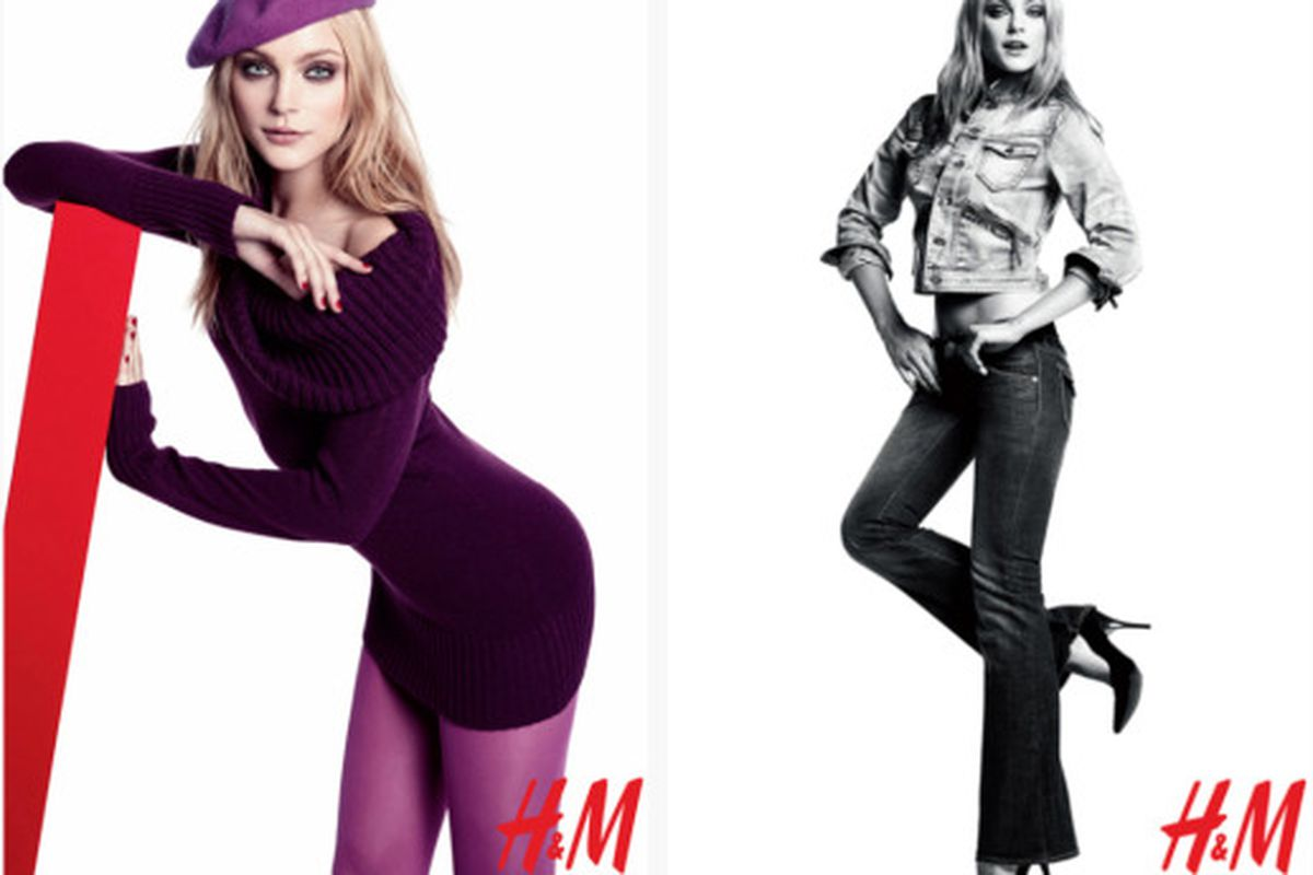 """Are the monochromatic and denim-on-denim looks cool again? Images via <a href=""""http://www.nitrolicious.com/blog/2009/10/20/jessica-stam-for-hm-fall-2009-ad-campaign/"""">Nitrolicious</a>"""