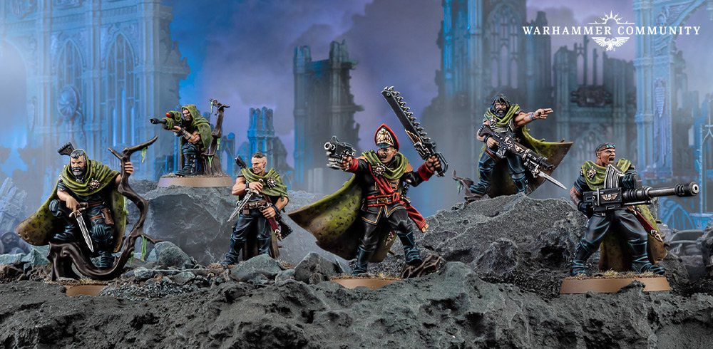 Guaunt's Ghosts in plastic, striking a pose amidst some Imperial ruins.
