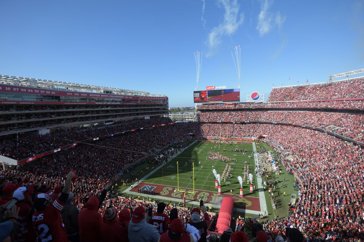 General view of pregame festivities before the San Francisco 49ers play against the Minnesota Vikings in the NFC Divisional Round playoff football game at Levi's Stadium.