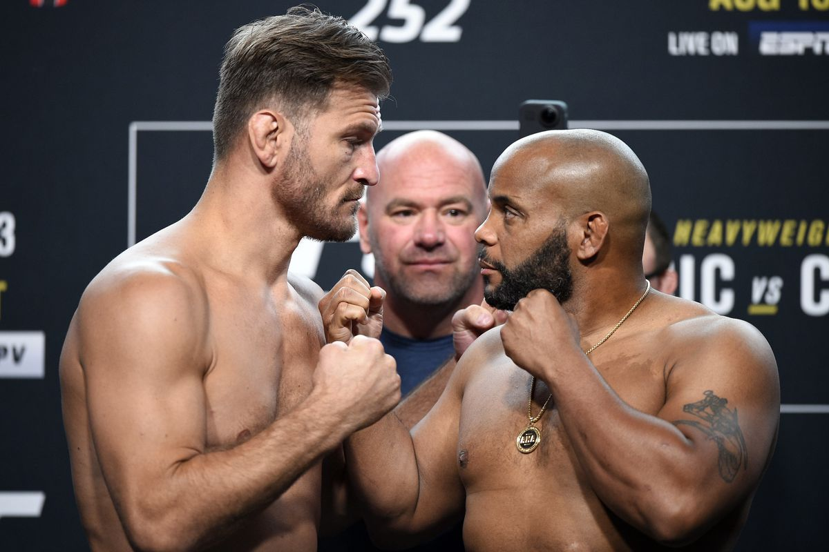 Opponents Stipe Miocic and Daniel Cormier face off during the UFC 252 weigh-in at UFC APEX on August 14, 2020 in Las Vegas, Nevada.