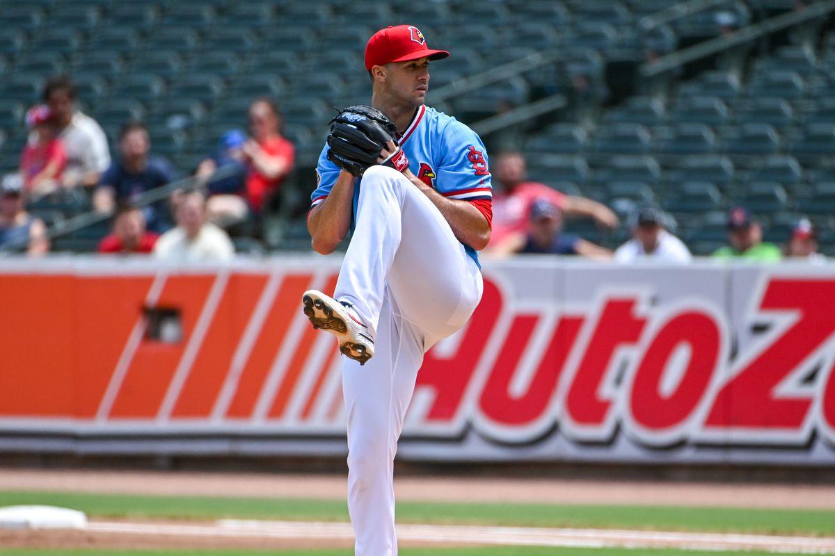 Memphis Redbirds pitcher, Jack Flaherty (22) in action...