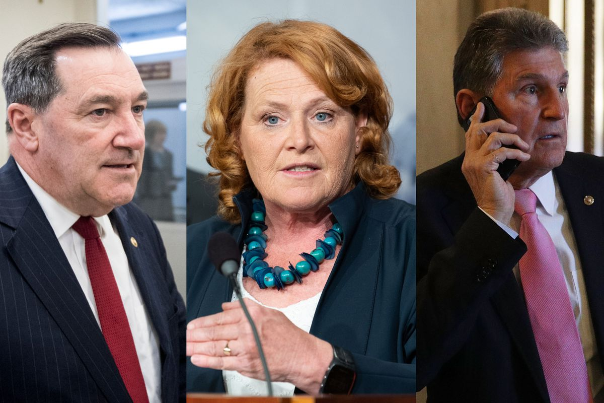From left to right: Sens. Joe Donnelly (D-IN), Heidi Heitkamp (D-ND), and Joe Manchin (D-WV).