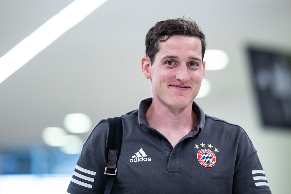 MUNICH, GERMANY - APRIL 25: Sebastian Rudy of Muenchen looks on as he arrives prior to the UEFA Champions League Semi Final First Leg match between Bayern Muenchen and Real Madrid at the Allianz Arena on April 25, 2018 in Munich, Germany.