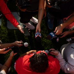 Utah quarterback Cameron Rising talks to journalists after practice at the Spence and Cleone Eccles Football Center in Salt Lake City on Monday, Oct. 4, 2021. This was the first opportunity for players to talk to journalists after defensive back Aaron Lowe was shot and killed on Sept. 26.