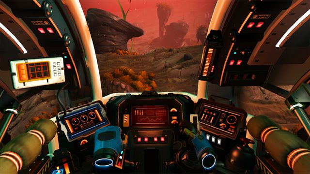 Piloting a ship in No Man's Sky in VR, using floating hand controls