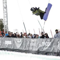 Kelly Clark performs a trick during the Women's Snowboard Superpipe Finals at the 2012 Winter Dew Tour Toyota Challenge.