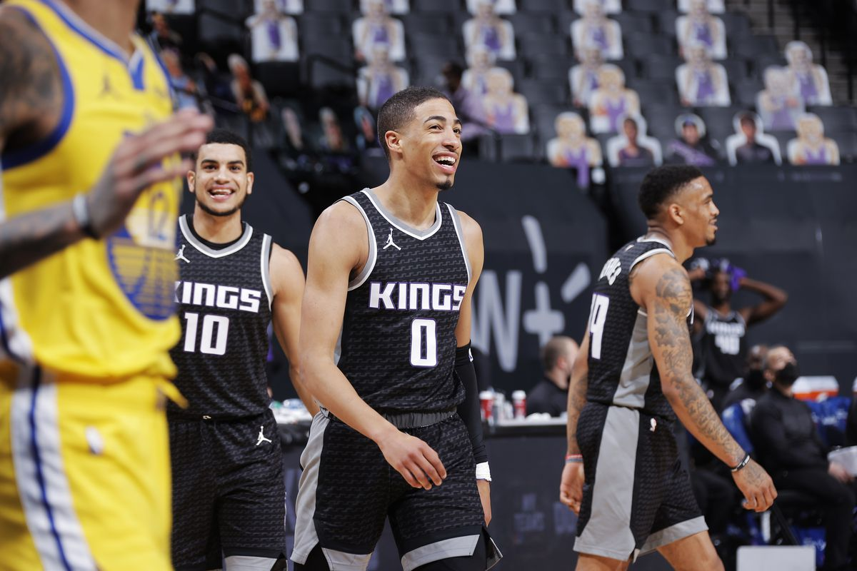Tyrese Haliburton of the Sacramento Kings smiles during the game against the Golden State Warriors on March 25, 2021 at Golden 1 Center in Sacramento, California.