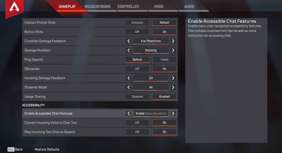 Apex Legends - a picture of the graphics options screen
