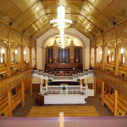 The interior of the Bear Lake Tabernacle in Paris, Idaho.