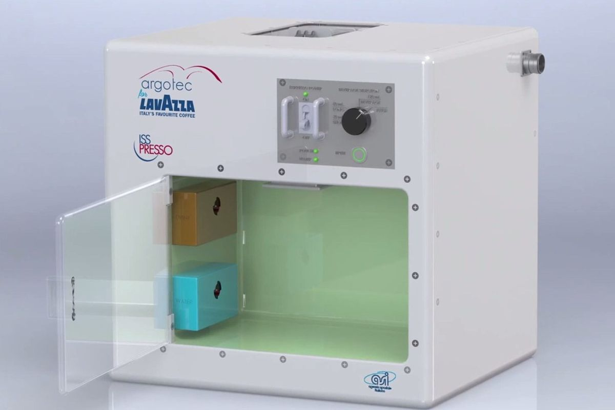 The specially-designed Lavazza ISSpresso machine, being carried up to the International Space Station today.