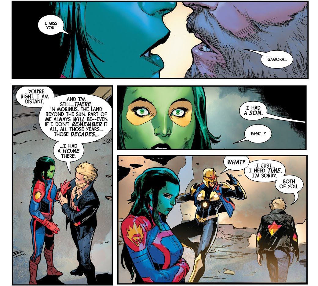 Peter Quill tells both Gamora and Richard Rider/Nova that he's not ready for a relationship now, with either of them, in Guardians of the Galaxy #13, Marvel Comics (2021).