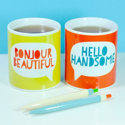 """Bread and Jam """"Say Hello"""" mugs, <a href=""""https://www.etsy.com/listing/175733249/say-hello-mugs-perfect-for-valentines?ref=shop_home_active_18"""">Etsy</a>, $13.13."""
