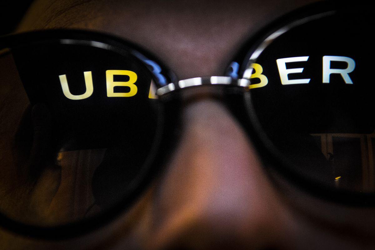 Uber logo reflected in sunglasses