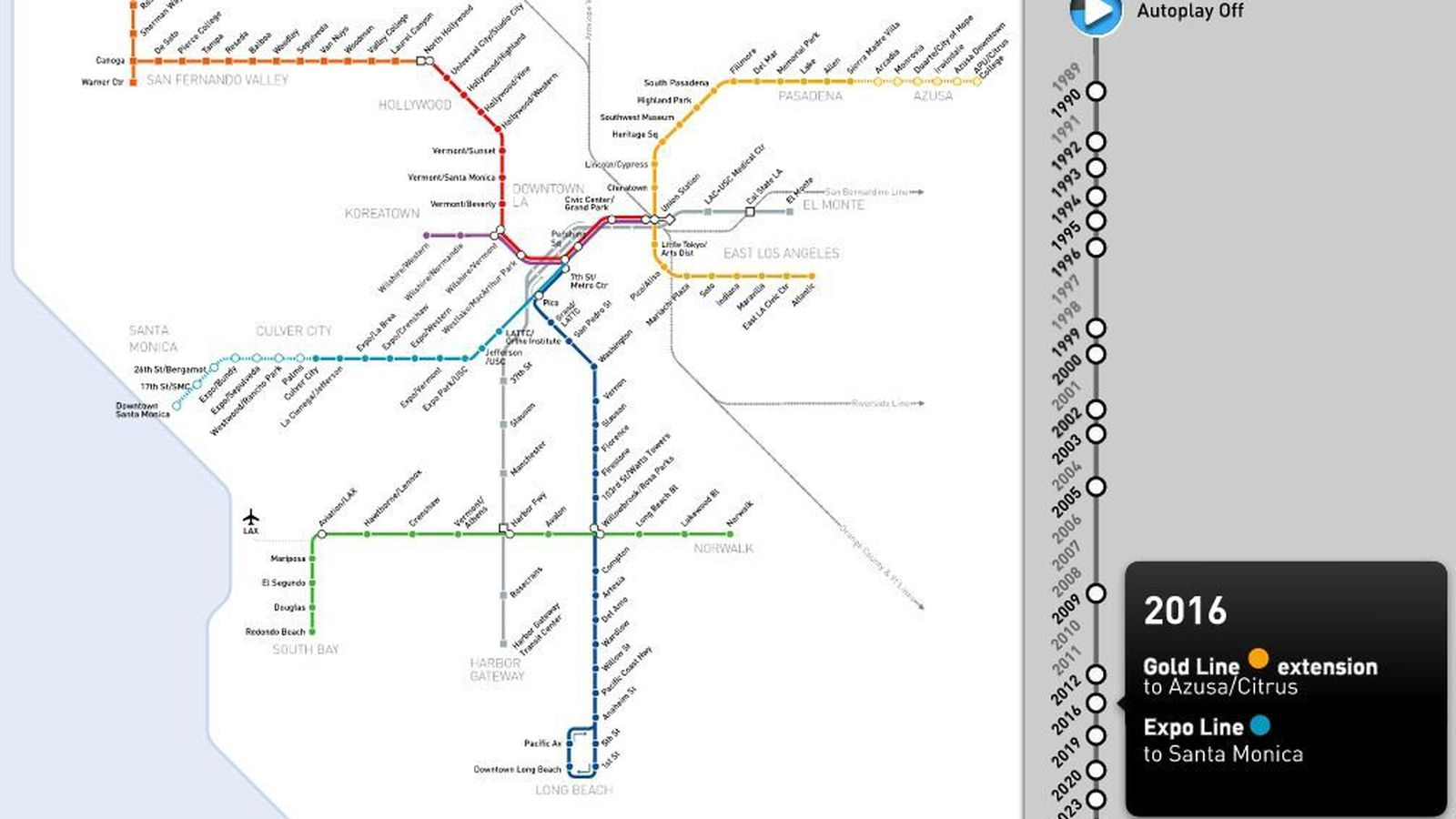 Watch The Los Angeles Metro Rail Maps Spectacular Growth From - Los angeles metro map 2016