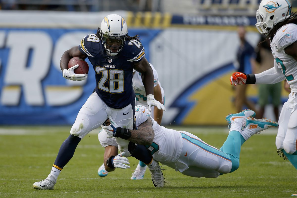 San Diego Chargers RB Melvin Gordon runs against the Miami Dolphins