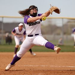 Riverton pitcher Chloe Borges sends a pitch on its way during a game against Bingham at Riverton on Tuesday, April 20, 2021. Riverton won 11-2.