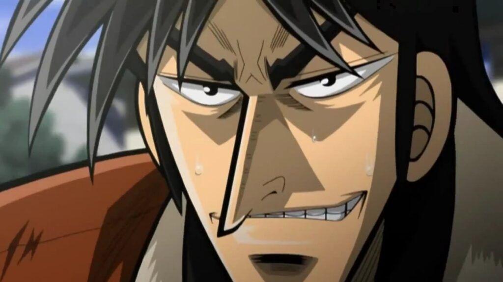 Kaiji smiling under pressure in Kaiji.