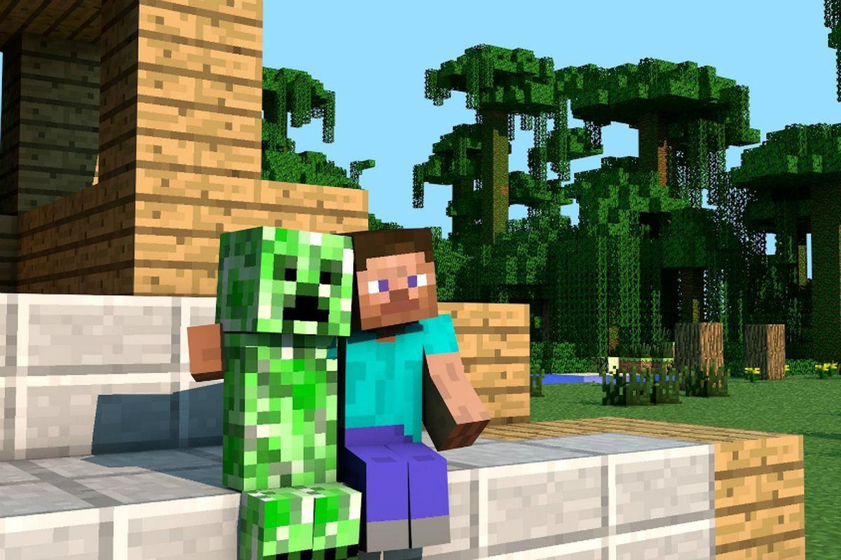 Minecraft - hugging a creeper