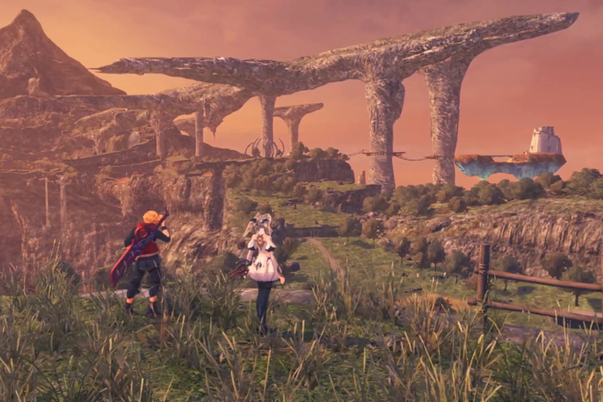 two people looking out at rock formations in Xenoblade Chronicles Definitive Edition